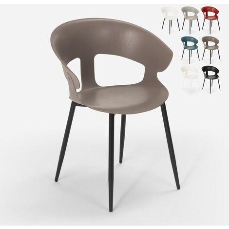 Chaise design moderne en métal polypropylène pour cuisine bar restaurant Evelyn