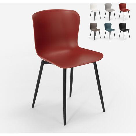 Chaise design moderne en polypropylène et métal pour cuisine bar restaurant Chloe