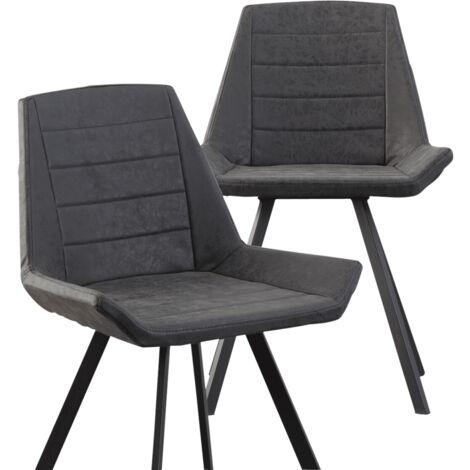 Chaise design pieds compas métal - Gris foncé