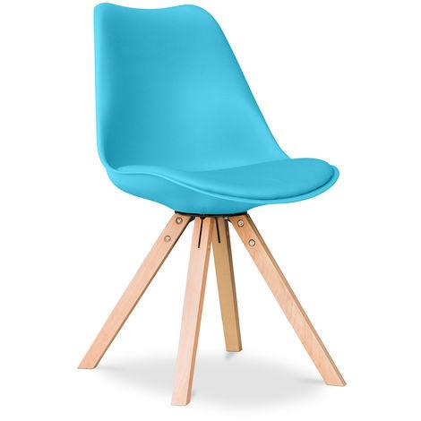 Chaise Design scandinave avec coussin Deswick Bleu clair