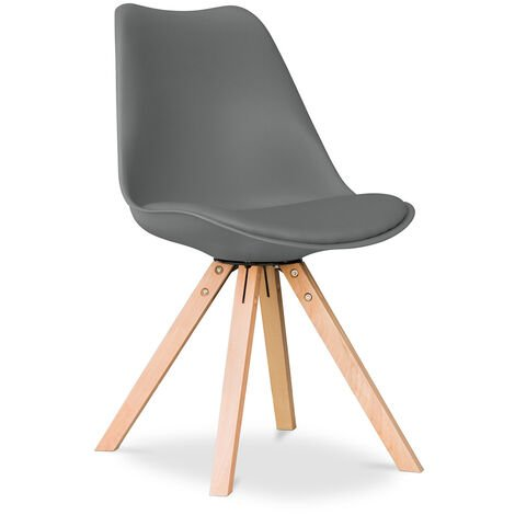 Chaise Design scandinave avec coussin Deswick - Mat Gris foncé
