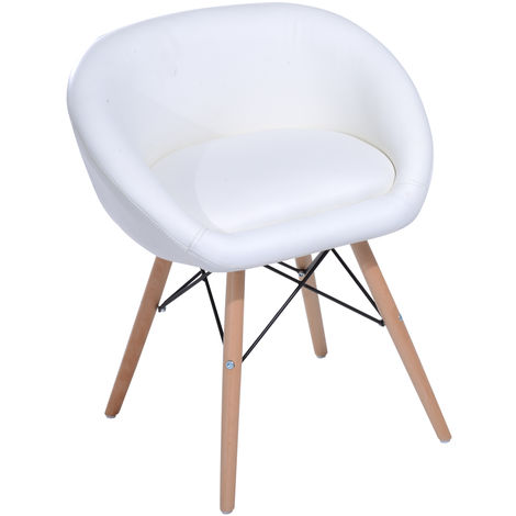 Chaise design scandinave grand confort L 52 x l 46 x H64 cm simili cuir blanc