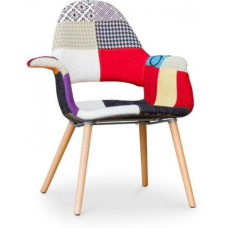 Chaise design scandinave Organic -Style Eero Saarinen - Patchwork Multicolore