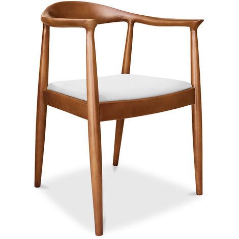 Chaise design scandinave The Chair Wegner Style - Cuir Premium Blanc