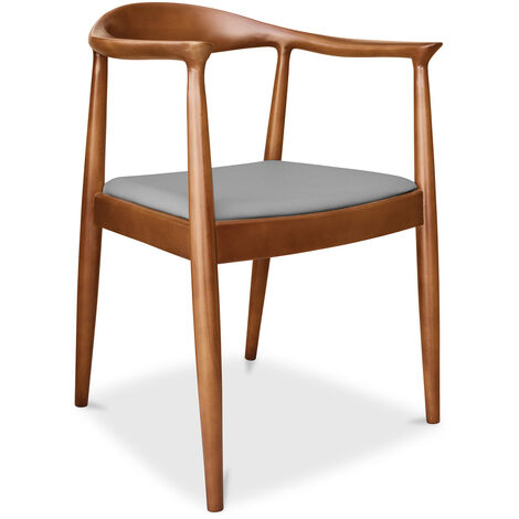 Chaise design scandinave The Chair Wegner Style - Cuir Premium Gris