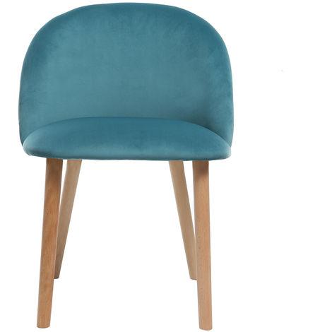 chaise design velours bleu canard et bois celeste 42620. Black Bedroom Furniture Sets. Home Design Ideas