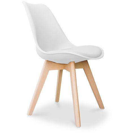 Chaise Deswick avec coussin Design scandinave Blanc