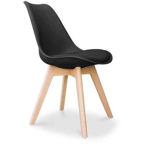 Chaise Deswick avec coussin Design scandinave - Mat Noir