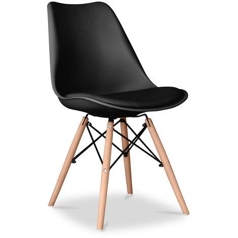 Chaise Deswick avec coussin - Mat Noir
