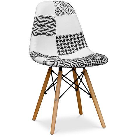 Chaise Deswick Noir et blanc - Patchwork Blanc / Noir