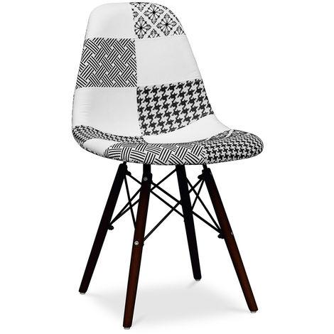 Chaise Deswick Noir et blanc - Patchwork Sam - Piètement Foncé Blanc / Noir