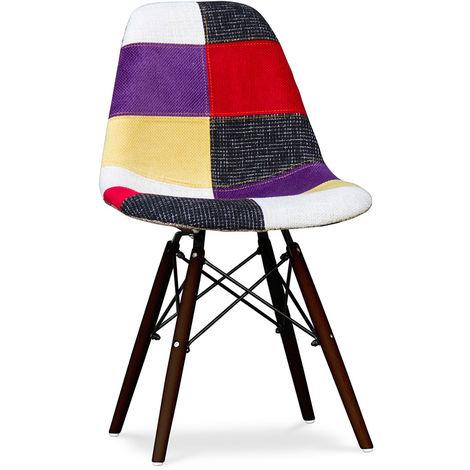 Chaise Deswick Piètement foncé - Patchwork Tessa Multicolore