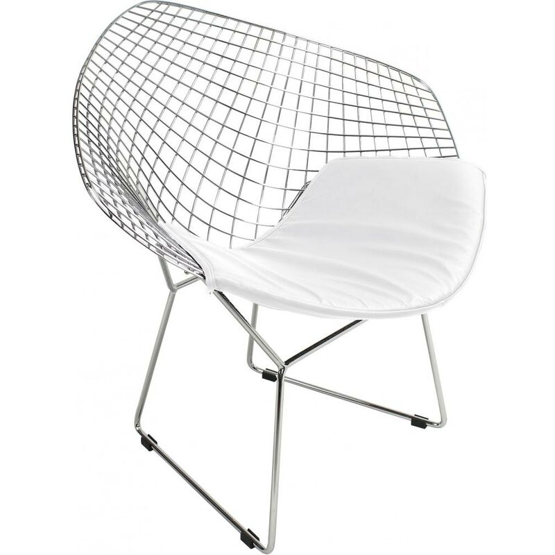 Chaise Diamond - Style Harry Bertoia Blanc