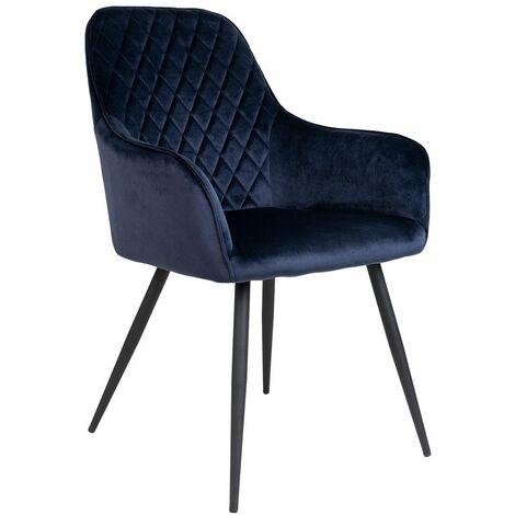 Chaise dîner velours Harbo bleu - Bleu