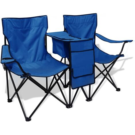 Chaise double de camping 155 x 47 x 84 cm Bleu