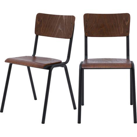 Chaise écolier vintage Clem en bois foncé (lot de 2) - Bois foncé