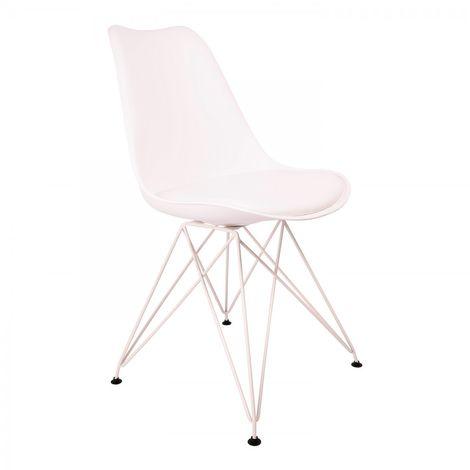 Chaise Eiffel Blanche de salle à manger avec pieds métaliques