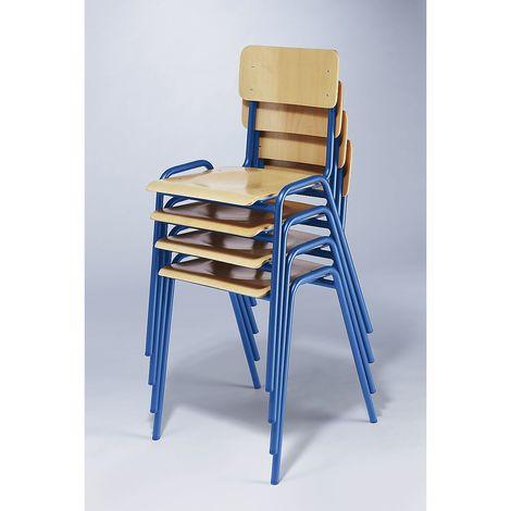 Chaise empilable en contreplaqué de hêtre - lot de 4 - piétement bleu gentiane