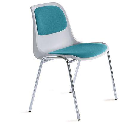 Chaise empilable en plastique rembourrée - coque grise - tissu bleu turquoise