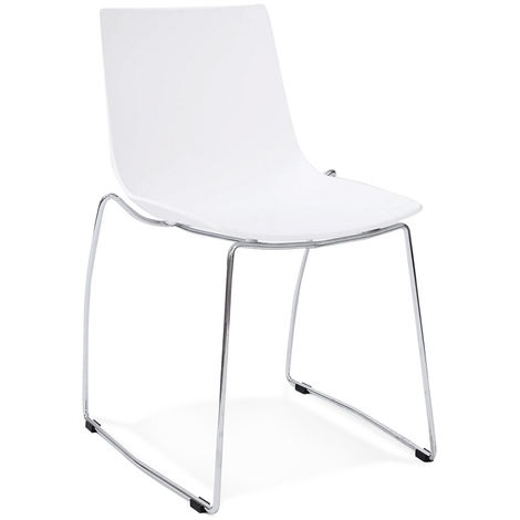 Chaise empilable en polypropylène et métal coloris Blanc - L44 x L58 x H83 cm USAGE PROFESSIONNEL -PEGANE-