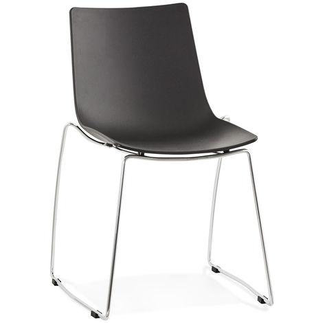 Chaise empilable en polypropylène et métal coloris noir - L44 x L58 x H83 cm USAGE PROFESSIONNEL -PEGANE-