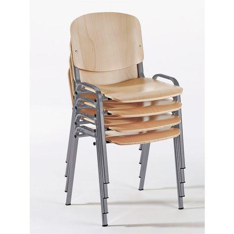 Chaise empilable ergonomique - hêtre / piétement coloris alu - lot de 4 - Coloris piétement: argent alu