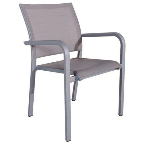 Chaise en alu gris textilène gris clair Paloma - Gris