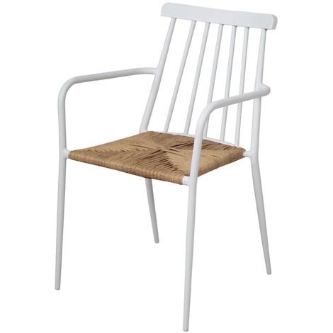 Chaise en aluminium coloris Blanc - Dim : 84 x 53 x 57 cm -PEGANE-