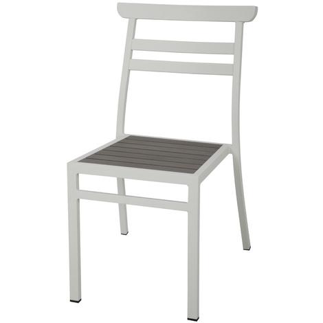 Chaise en aluminium coloris gris foncé - Dim : 84 x 48 x 62 cm -PEGANE-