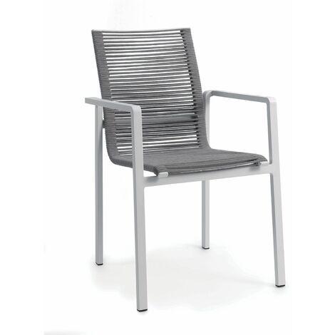 Chaise en aluminium et corde textilène Zebra
