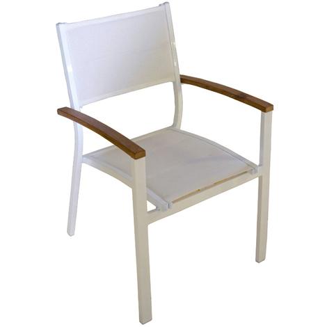 Chaise en aluminium ivoire et bois teck - empilable - Dim : 88 x 57 x 58 cm