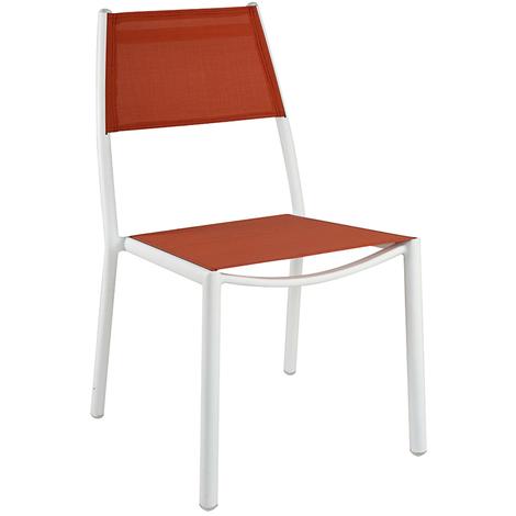 Chaise en aluminium ivoire et textilène terracotta - Dim : H 87 x L 61 x P 54 cm