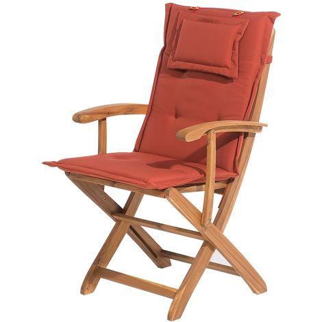 Avec Rouge Coussin Chaise 78855 Bois Maui En Brique ZuPOkXi
