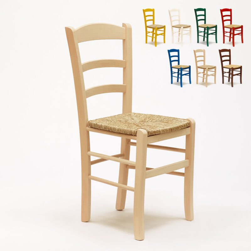Chaise en bois et assise en paille pour salle à manger bar et restaurant PAESANA