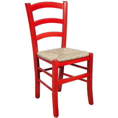 Chaise en bois pour table à manger restaurant pizzeria cuisine art rustique Rosso L45xPR45xH88 Cm Made In Italy
