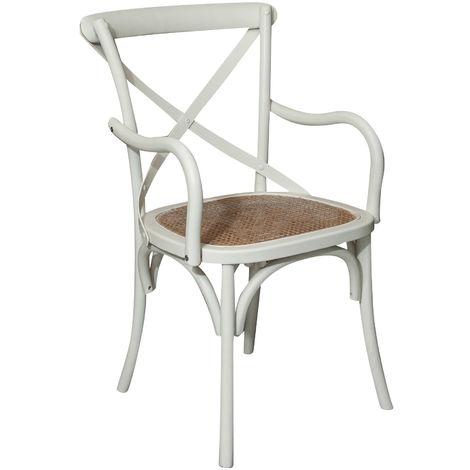 Chaise en bois Thonet pour table à manger restaurant pizzeria cuisine ferme arte povera blanc antique L50xPR43xH89 Cm