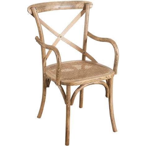 Chaise en bois Thonet pour table à manger restaurant pizzeria cuisine ferme arte povera noyer clair antique L50xPR43xH89 Cm