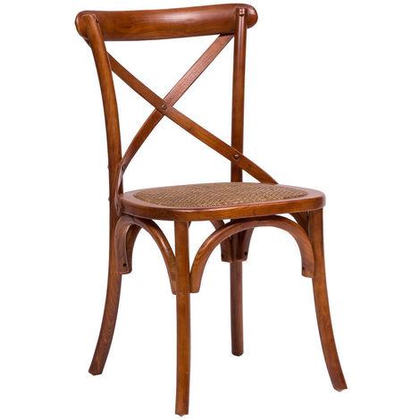 Chaise en bois Thonet pour table déjeuner restaurant pizzeria cuisine fermes arte povera Noyer L46xPR42xH86 Cm