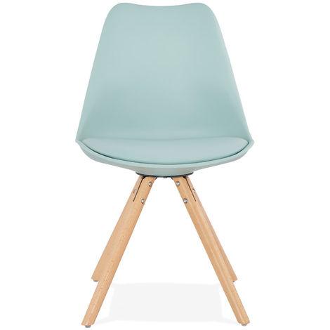 Chaise en chêne massif et similicuir coloris Bleu - L48 x L56 x H83 cm USAGE PROFESSIONNEL -PEGANE-