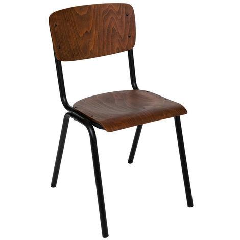 Chaise en fer et bois coloris marron - L. 44 x l. 47,5 x H. 83 cm -PEGANE-