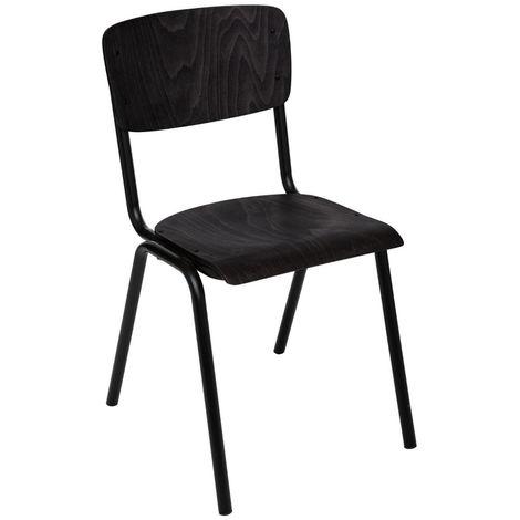 Chaise en fer et bois coloris noir - L. 44 x l. 47,5 x H. 83 cm -PEGANE-
