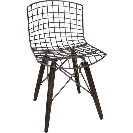 Chaise en métal grillagée assise bois et qGMpSUzV