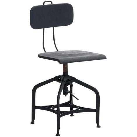 Chaise en métal et bois pour cuisine, salle à manger ou bureau style industriel réglable