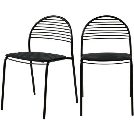 Chaise en métal noir Elite (lot de 2) - Noir