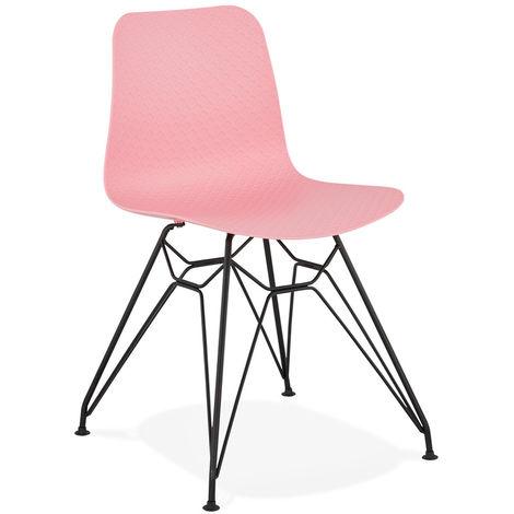 Chaise en plastique rose et métal noir - L47 x L49 x H83 cm - USAGE PROFESSIONNEL -PEGANE-