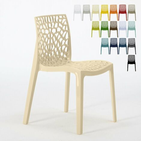 Chaise en polypropylène nid d'abeille cuisine bar café GRUVYER Grand Soleil