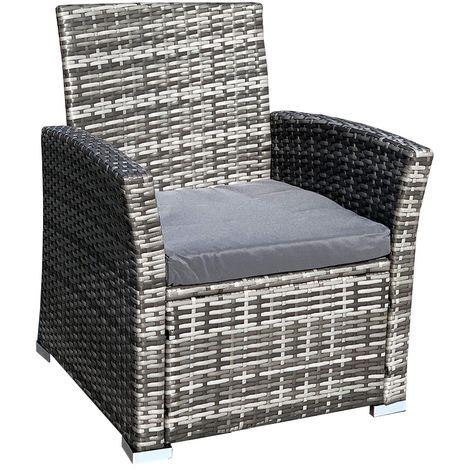 Chaise en rotin Chaise de jardin Grey poly-rotin Chaise en osier ...