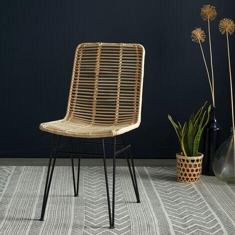 Chaise en rotin et métal