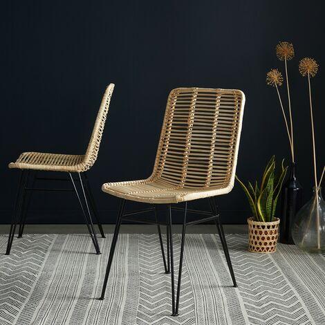 Chaise en rotin et métal (lot de 2)