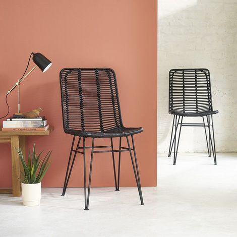Chaise en rotin et pieds métal (lot de 2)
